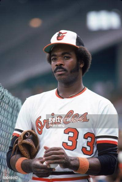 Eddie Murray of the Baltimore Orioles poses for a portrait before a game at Memorial Stadium in Baltimore Maryland