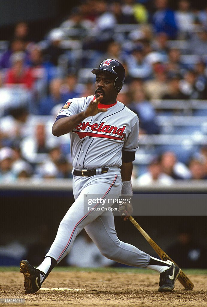 <a gi-track='captionPersonalityLinkClicked' href=/galleries/search?phrase=Eddie+Murray&family=editorial&specificpeople=210573 ng-click='$event.stopPropagation()'>Eddie Murray</a> #33 of the Cleveland Indians bats against the New York Yankees during an Major League Baseball game circa 1994 at Yankee Stadium in the Bronx borough of New York City. Murray played for the Indians from 1994-96.