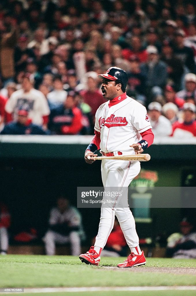 <a gi-track='captionPersonalityLinkClicked' href=/galleries/search?phrase=Eddie+Murray&family=editorial&specificpeople=210573 ng-click='$event.stopPropagation()'>Eddie Murray</a> of the Cleveland Indians bats during Game Six of the World Series against the Atlanta Braves on October 28, 1995 at Atlanta-Fulton County Stadium in Atlanta, Georgia.