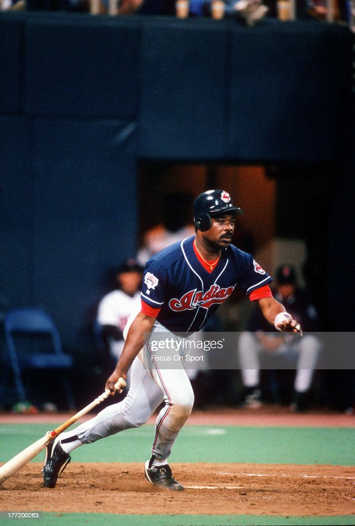 <a gi-track='captionPersonalityLinkClicked' href=/galleries/search?phrase=Eddie+Murray&family=editorial&specificpeople=210573 ng-click='$event.stopPropagation()'>Eddie Murray</a> #33 of the Cleveland Indians gets his 3000th career hit against the Minnesota Twins during an Major League baseball game June 30, 1995 at the Hubert Humphrey Metrodome in Minneapolis, Minnesota. Murray played for the Indians from 1994-96.