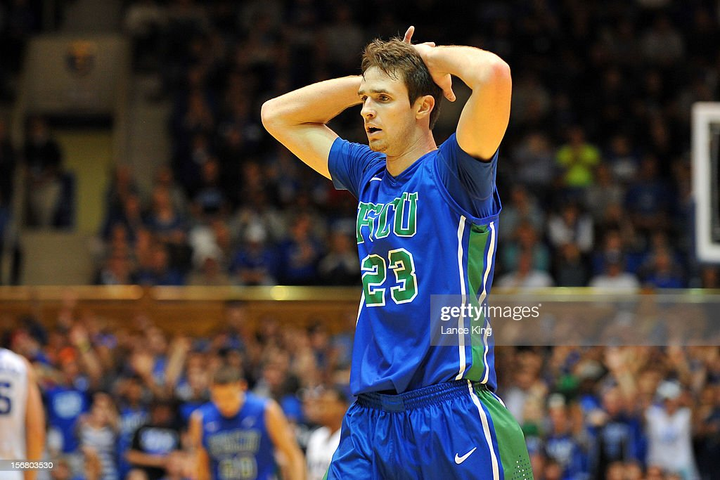 Eddie Murray #23 of the Florida Gulf Coast Eagles reacts during a stop in play against the Duke Blue Devils at Cameron Indoor Stadium on November 18, 2012 in Durham, North Carolina. Duke defeated Florida Gulf Coast 88-67.