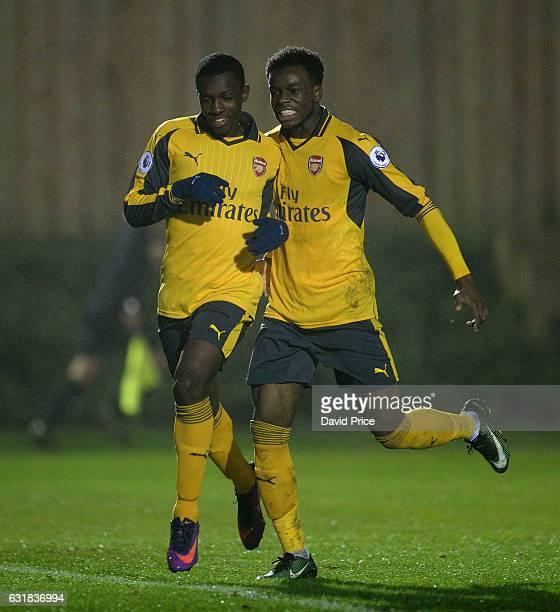 Eddie Nketiah celebrates scoring Arsenal's 2nd goal with Stephy Mavididi during the match between Southampton U23 and Arsenal U23 at Southampton...