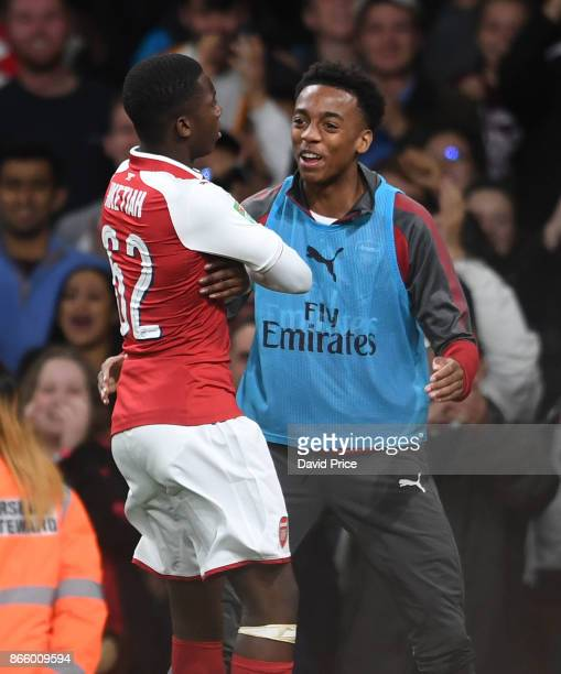 Eddie Nketiah celebrates scoring his and Arsenal's 1st goal with Joe Willock during the Carabao Cup Fourth Round match between Arsenal and Norwich...