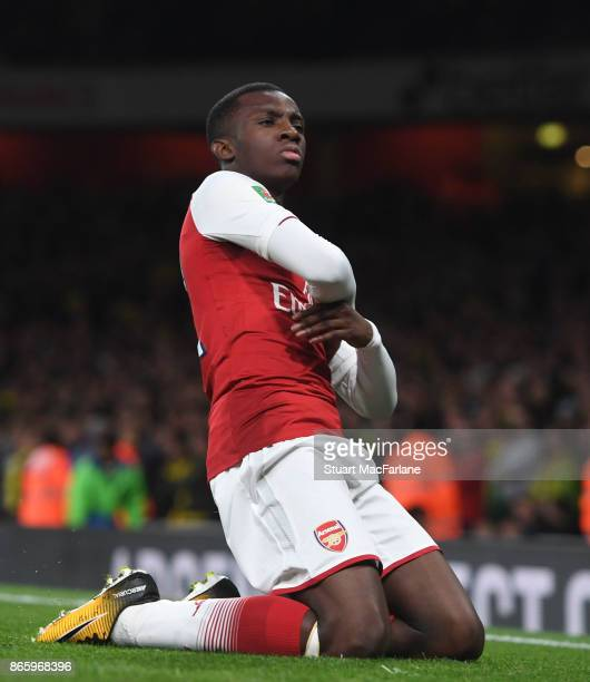 Eddie Nketiah celebrates scoring the 2nd Arsenal goal during the Carabao Cup Fourth Round match between Arsenal and Norwich City at Emirates Stadium...