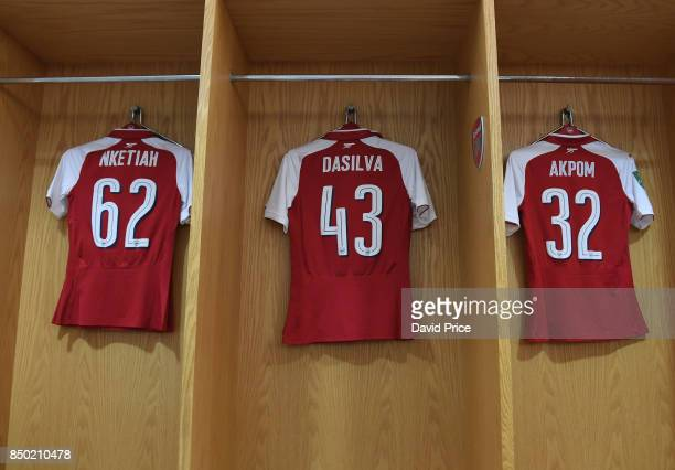 Eddie Nketiah Josh Dasilva and Chuba Akpom Arsenal kit in the changing room before the match between Arsenal and Doncaster Rovers at Emirates Stadium...