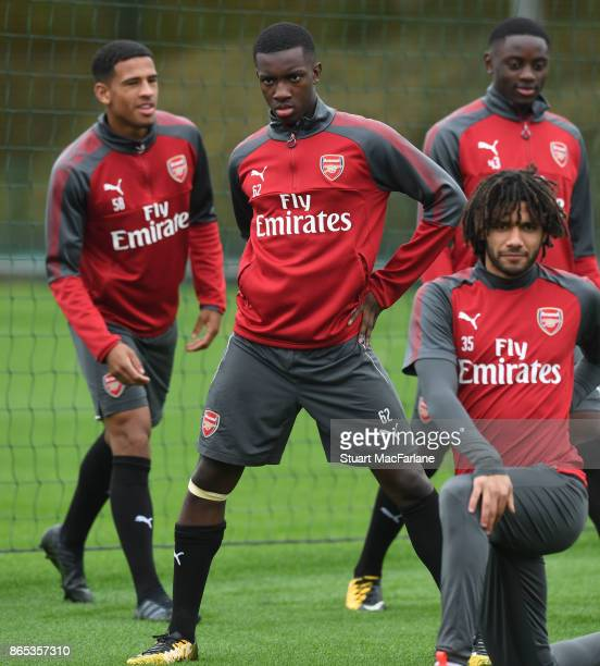 Eddie Nketiah of Arsenal during a training session at London Colney on October 23 2017 in St Albans England