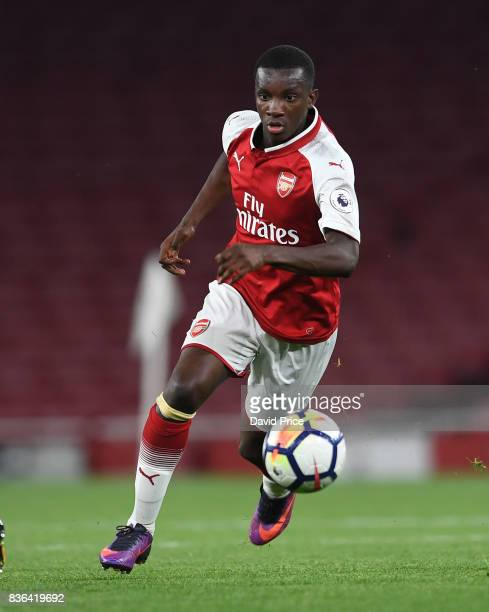 Eddie Nketiah of Arsenal during the match between Arsenal U23 and Manchester City U23 at Emirates Stadium on August 21 2017 in London England