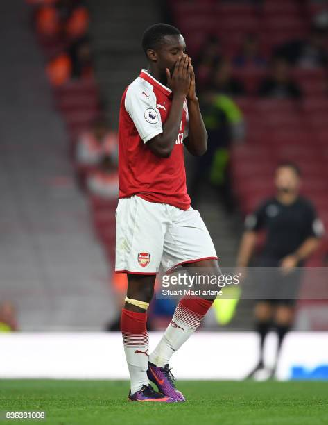 Eddie Nketiah of Arsenal during the Premier League 2 match between Arsenal and Manchester City at Emirates Stadium on August 21 2017 in London England