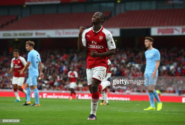 Eddie Nketiah of Arsenal Under 23s celebrates scoring his sides second during Premier League 2 match between Arsenal Under 23s against Manchester...
