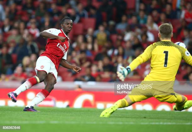 Eddie Nketiah of Arsenal Under 23s scores his side 3rd goal and his 2nd goal during Premier League 2 match between Arsenal Under 23s against...