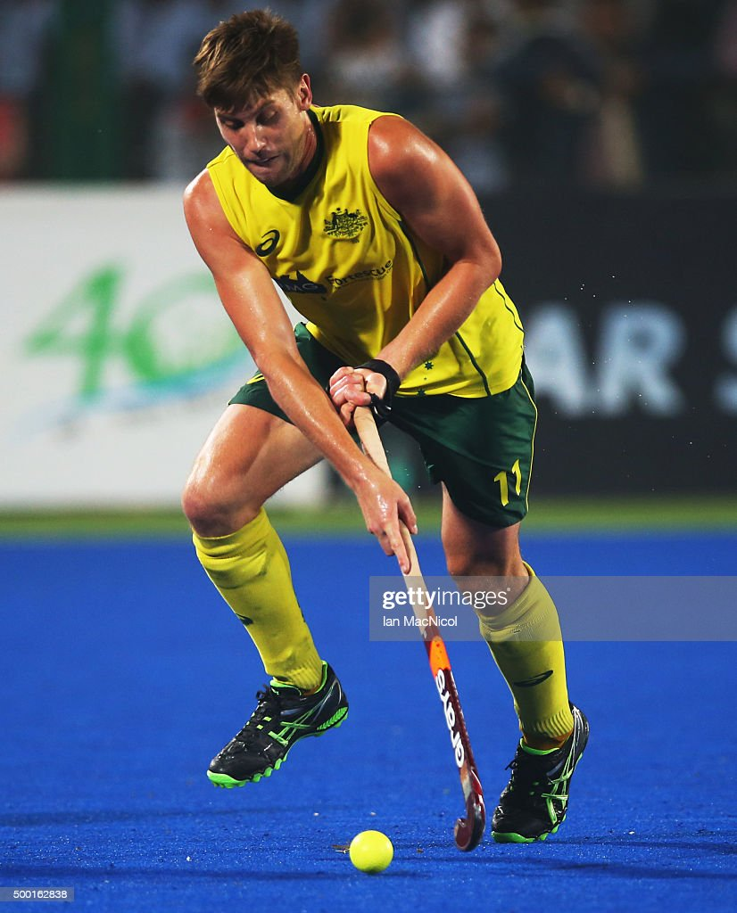 <a gi-track='captionPersonalityLinkClicked' href=/galleries/search?phrase=Eddie+Ockenden&family=editorial&specificpeople=4132629 ng-click='$event.stopPropagation()'>Eddie Ockenden</a> of Australia runs with the ball during the match between Australia and Netherlands on day eight of The Hero Hockey League World Final at the Sardar Vallabh Bhai Patel International Hockey Stadium on December 04, 2015 in Raipur, India.