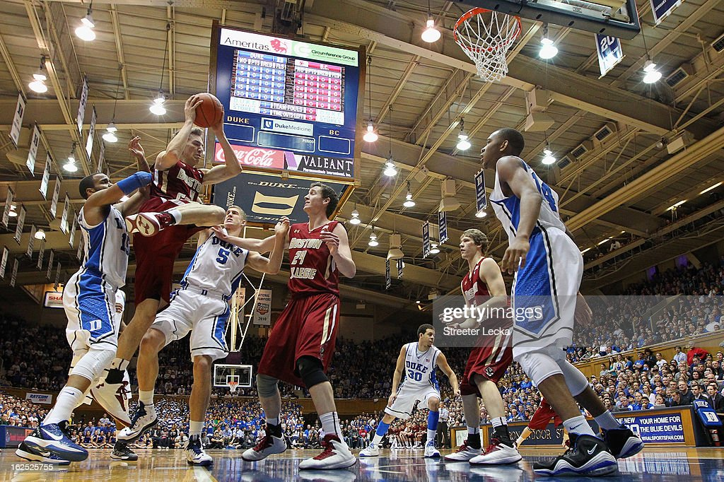 Eddie Odio #4 of the Boston College Eagles drives to the basket against <a gi-track='captionPersonalityLinkClicked' href=/galleries/search?phrase=Mason+Plumlee&family=editorial&specificpeople=5792012 ng-click='$event.stopPropagation()'>Mason Plumlee</a> #5 of the Duke Blue Devils during their game at Cameron Indoor Stadium on February 24, 2013 in Durham, North Carolina.
