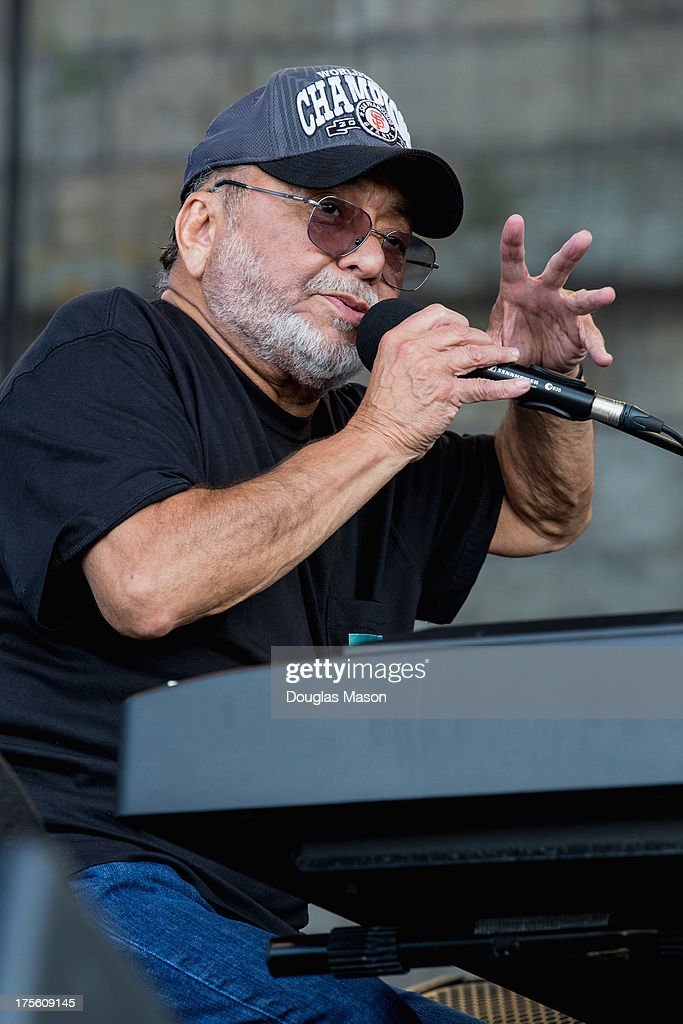 <a gi-track='captionPersonalityLinkClicked' href=/galleries/search?phrase=Eddie+Palmieri&family=editorial&specificpeople=1657644 ng-click='$event.stopPropagation()'>Eddie Palmieri</a>e Salsa Orchestra performs during the Newport Jazz Festival 2013 at Fort Adams State Park on August 4, 2013 in Newport, Rhode Island.