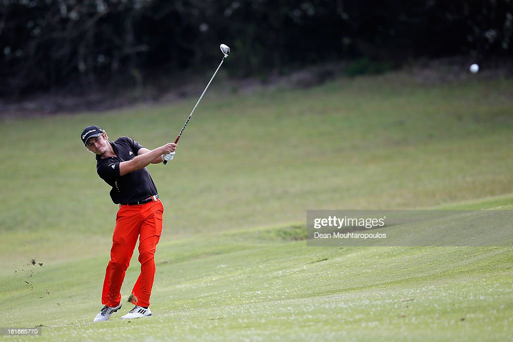 Eddie Pepperell of England hits his second shot on the 11th hole during Day One of the Africa Open at East London Golf Club on February 14, 2013 in East London, South Africa.
