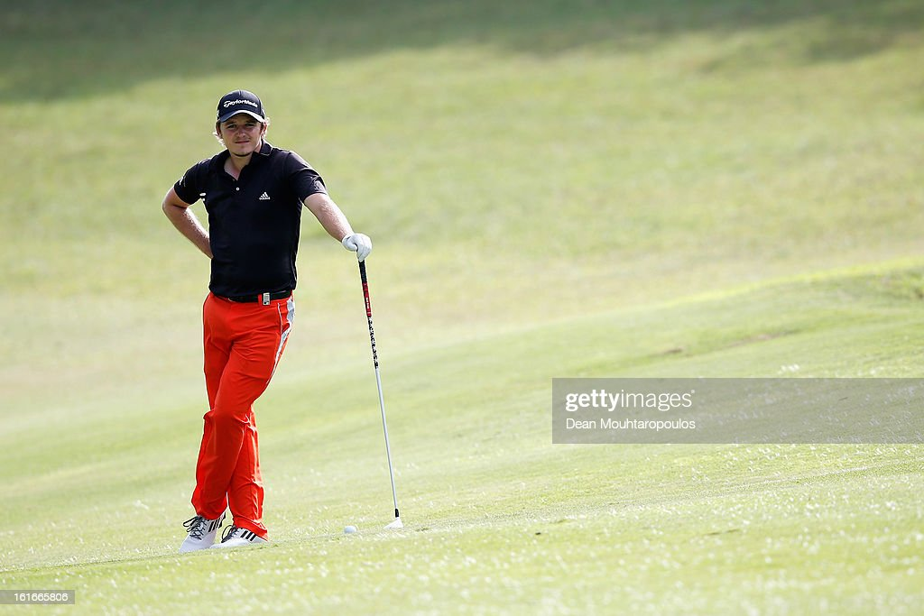 Eddie Pepperell of England looks on after he hits his second shot on the 11th hole during Day One of the Africa Open at East London Golf Club on February 14, 2013 in East London, South Africa.