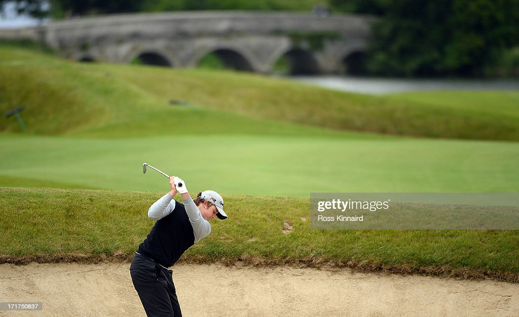 Eddie Pepperell of England plays his second shot on the par five 18th hole during the second round of the Irish Open at Carton House Golf Club on June 28, 2013 in Maynooth, Ireland.