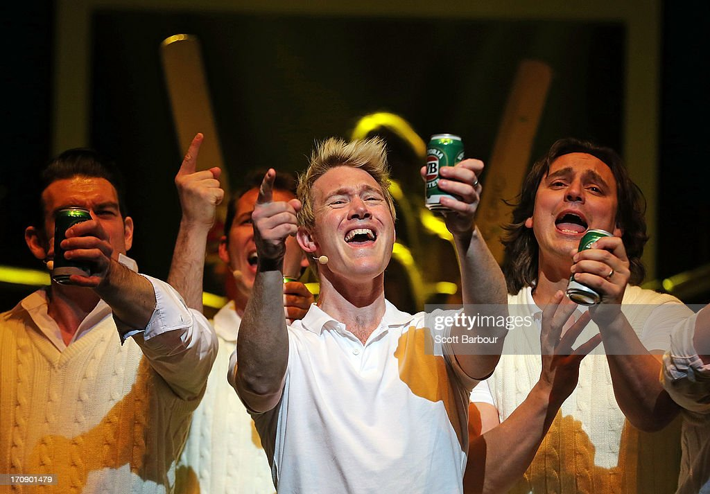 Eddie Perfect who plays Shane Warne holds a can of beer as he sings during a 'Shane Warne The Musical' media call at the Arts Centre Melbourne on June 20, 2013 in Melbourne, Australia. Shane Warne The Musical is a musical comedy based on the life of Australian cricketer Shane Warne.