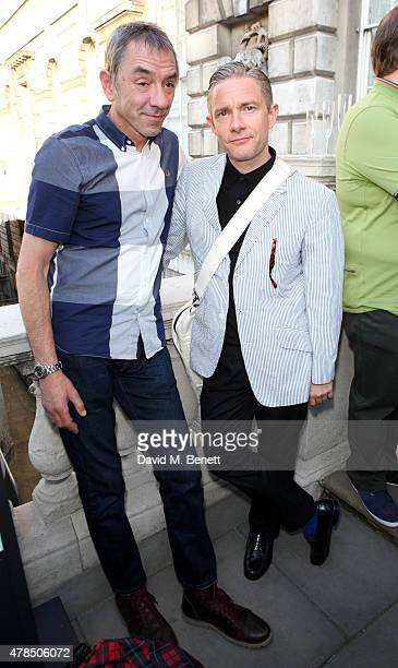 Eddie Piller and actor Martin Freeman attend the private view of The Jam About the Young Idea at Somerset House in London on June 25 2015 in London...