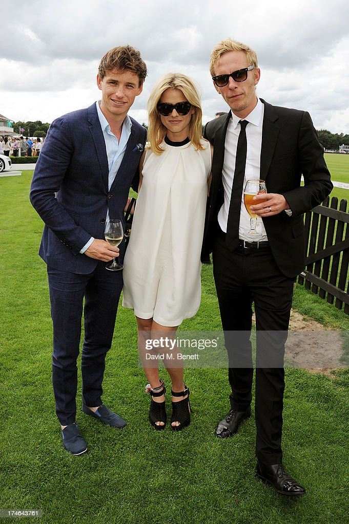 Eddie Redmayne, Alice Eve and Laurence Fox attend the Audi International Polo at Guards Polo Club on July 28, 2013 in Egham, England.