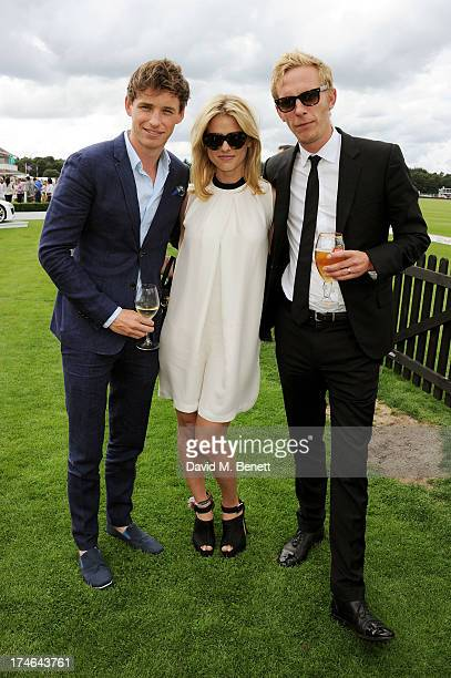 Eddie Redmayne Alice Eve and Laurence Fox attend the Audi International Polo at Guards Polo Club on July 28 2013 in Egham England