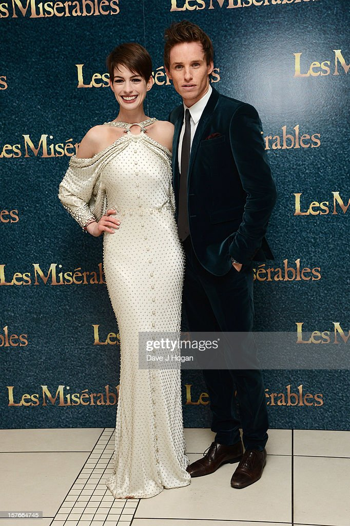 Eddie Redmayne and Anne Hathaway attend the world premiere of Les Miserables at The Odeon Leicester Square on December 5, 2012 in London, England.