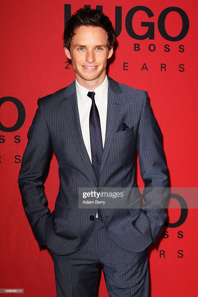 <a gi-track='captionPersonalityLinkClicked' href=/galleries/search?phrase=Eddie+Redmayne&family=editorial&specificpeople=2554844 ng-click='$event.stopPropagation()'>Eddie Redmayne</a> attends Hugo By Hugo Boss Autumn/Winter 2013/14 fashion show during Mercedes-Benz Fashion Week Berlin at The Brandenburg Gate on January 17, 2013 in Berlin, Germany.