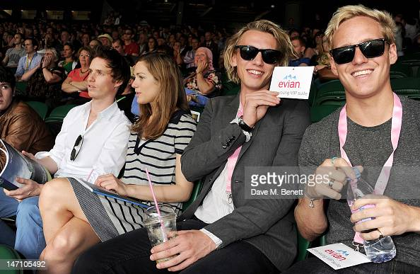 Eddie Redmayne Hannah Bagshaw Jamie Campbell Bower and Jamie Laing attend the evian 'Live young' VIP Suite at Wimbledon on June 25 2012 in London...