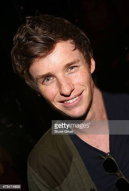 Eddie Redmayne poses backstage at the hit muscial 'Finding Neverland' on Broadway at The Lunt Fontanne Theater on May 31 2015 in New York City