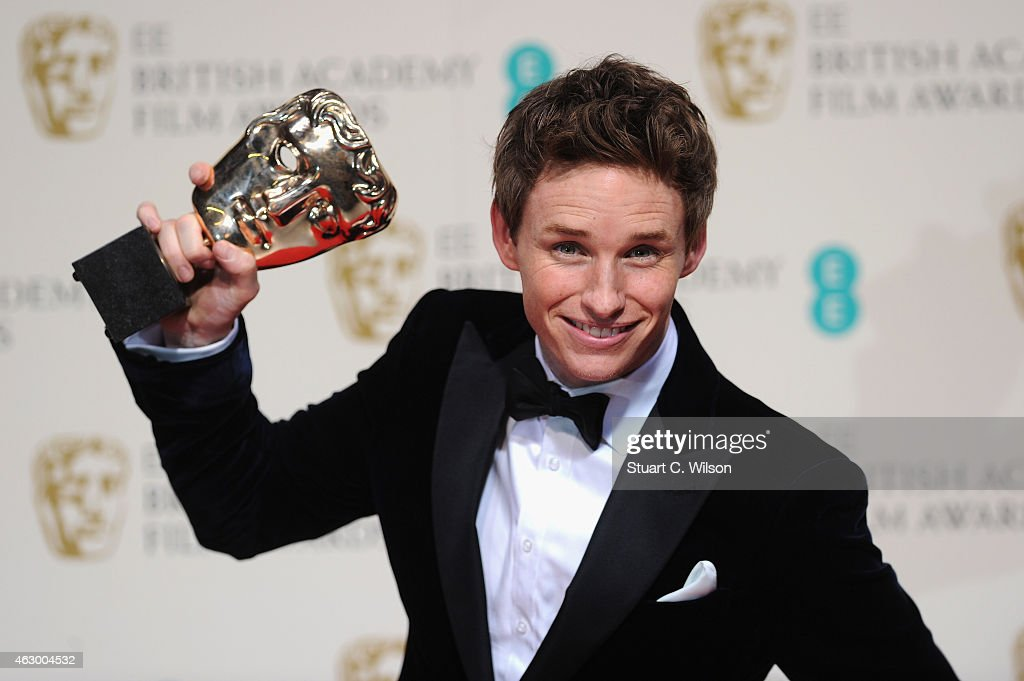 Eddie Redmayne poses in the winners room at the EE British Academy Film Awards at The Royal Opera House on February 8 2015 in London England