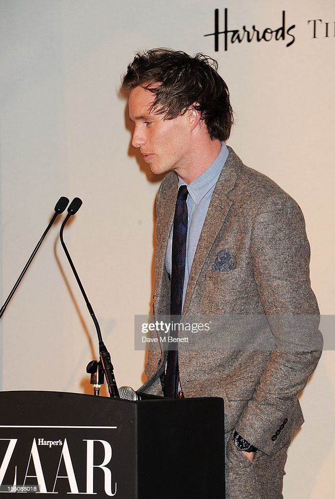 (MANDATORY CREDIT PHOTO BY DAVE M BENETT/GETTY IMAGES REQUIRED) Eddie Redmayne speaks at the Harper's Bazaar Women of the Year Awards 2012, in association with Estee Lauder, Harrods and Tiffany & Co., at Claridge's Hotel on October 31, 2012 in London, England.