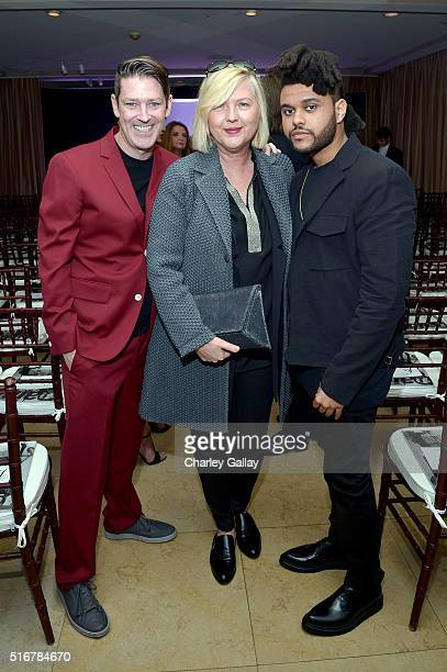 Eddie Roche Editorinchief of The Daily Brandusa Niro and artist The Weeknd attend The Daily Front Row 'Fashion Los Angeles Awards' 2016 at Sunset...