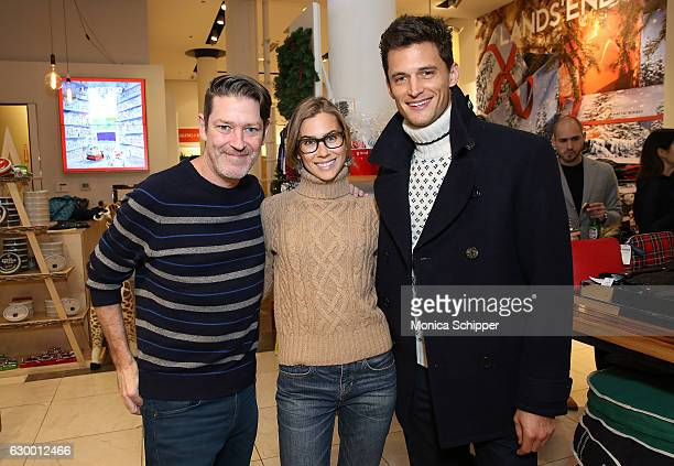 Eddie Roche Lauren Gaudette and Garrett Neff attend the Daily Front Row Lands' End Holiday Celebration on December 15 2016 in New York City