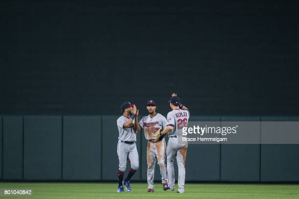 Eddie Rosario Byron Buxton and Max Kepler of the Minnesota Twins celebrate against the Baltimore Orioles on May 23 2017 at Oriole Park at Camden...