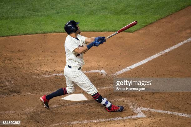 Eddie Rosario of the Minnesota Twins bats against the Texas Rangers on August 5 2017 at Target Field in Minneapolis Minnesota The Rangers defeated...