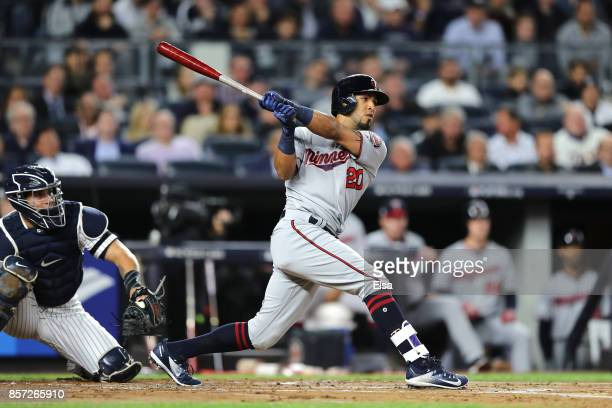 Eddie Rosario of the Minnesota Twins hits a two run home run against Luis Severino of the New York Yankees during the first inning in the American...