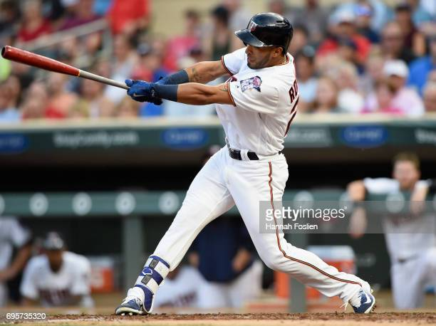 Eddie Rosario of the Minnesota Twins hits a tworun home run against the Seattle Mariners during the second inning of the game on June 13 2017 at...