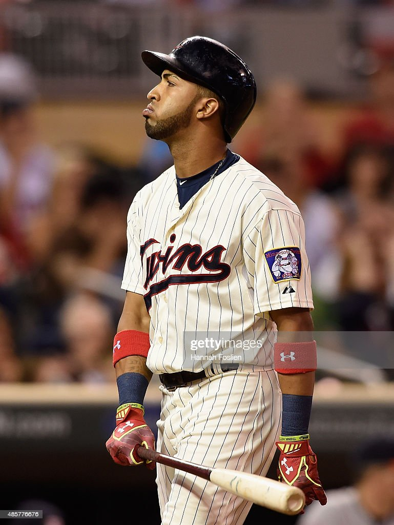 Eddie Rosario #20 of the Minnesota Twins reacts to striking out against the Houston Astros during the ninth inning of the game on August 29, 2015 at Target Field in Minneapolis, Minnesota. The Astros defeated the Twins 4-1.