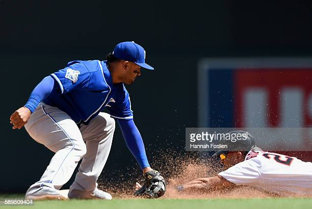 Eddie Rosario of the Minnesota Twins steals second base against Christian Colon of the Kansas City Royals during the fifth inning of the game on...