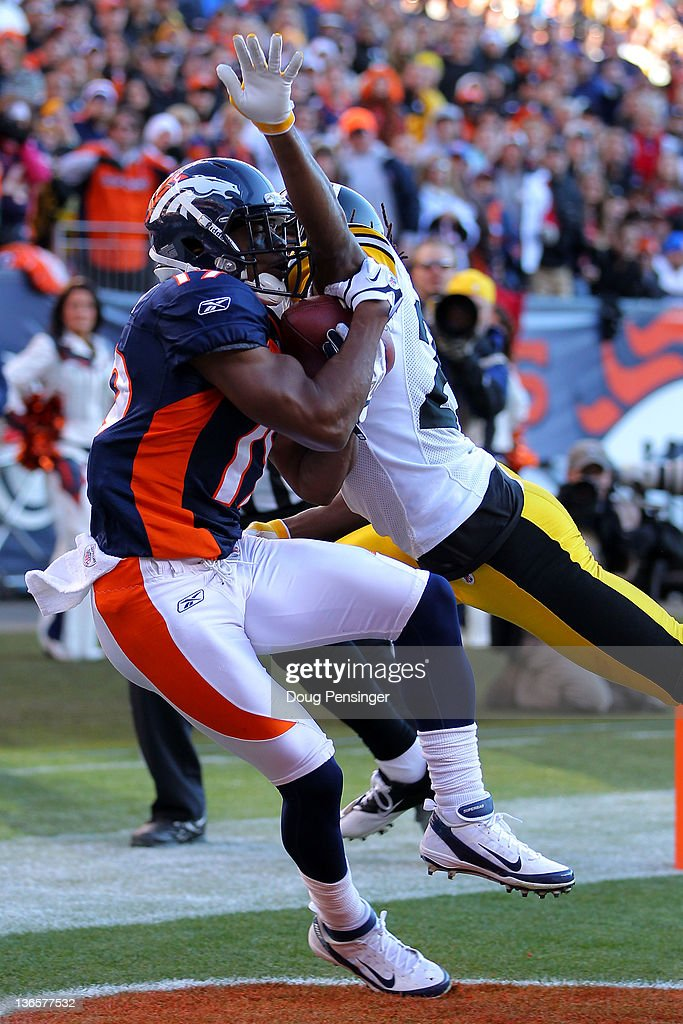 <a gi-track='captionPersonalityLinkClicked' href=/galleries/search?phrase=Eddie+Royal&family=editorial&specificpeople=2132149 ng-click='$event.stopPropagation()'>Eddie Royal</a> #19 of the Denver Broncos catches a touchdown pass in the second quarter against William Gay #22 of the Pittsburgh Steelers during the AFC Wild Card Playoff game at Sports Authority Field at Mile High on January 8, 2012 in Denver, Colorado.