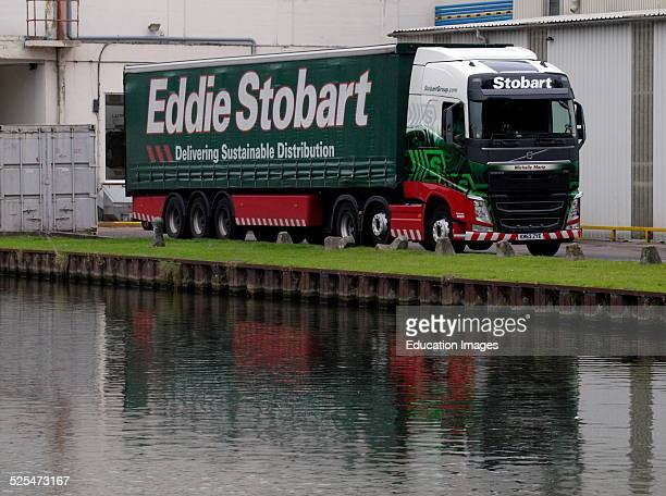 Eddie Stobart truck beside the Gloucester and Sharpness Canal UK