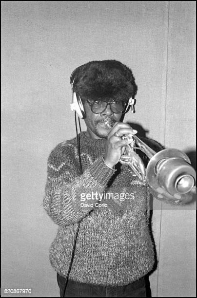 Eddie 'Tan Tan' Thornton recording 'Lets Make Africa Green Again' with BRAFA at Hive Studios London United Kingdom 24 February 1985