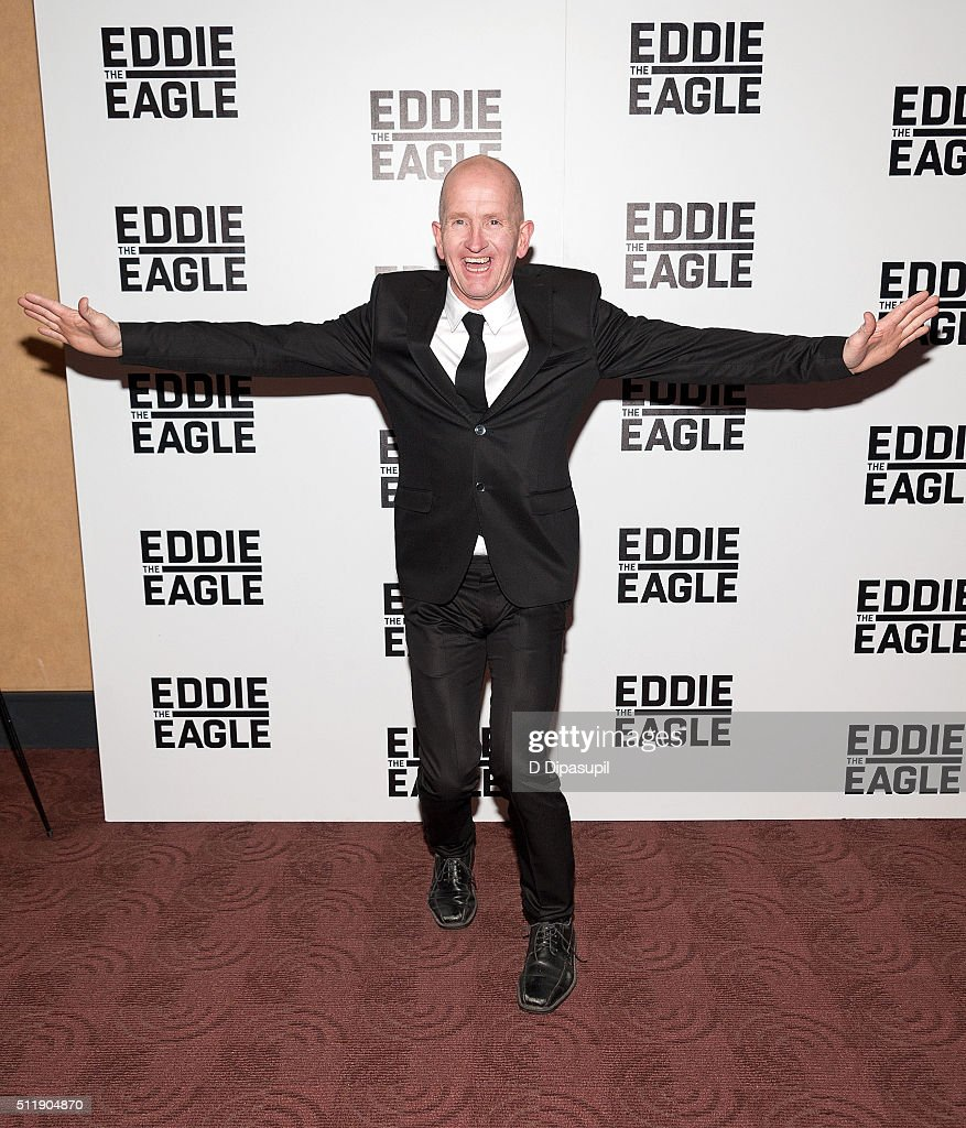 Eddie 'The Eagle' Edwards attends the 'Eddie The Eagle' New York screening at Chelsea Bow Tie Cinemas on February 23, 2016 in New York City.