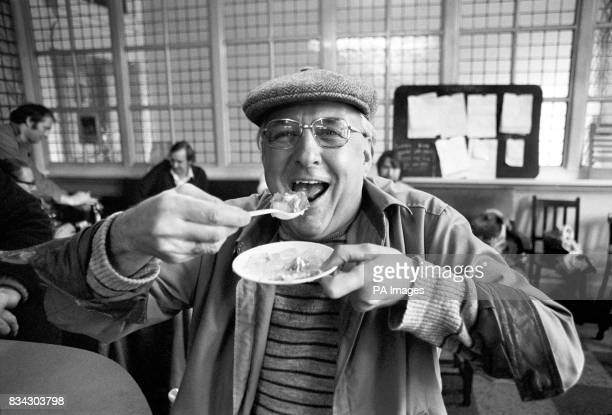 Eddie Tinman a 58 year old exdocker enjoying a plate of jellied eels at a Woolwich public house to celebrate the opening of the first commercial eel...