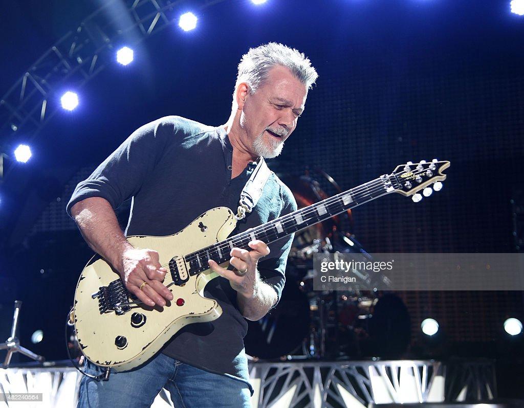 Eddie Van Halen of Van Halen performs at Shoreline Amphitheatre on July 16, 2015 in Mountain View, California.