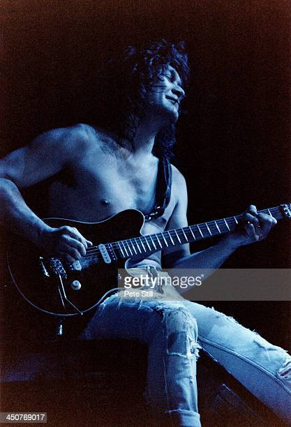 Eddie Van Halen of Van Halen performs on stage at Wembley Arena on April 29th 1993 in London England