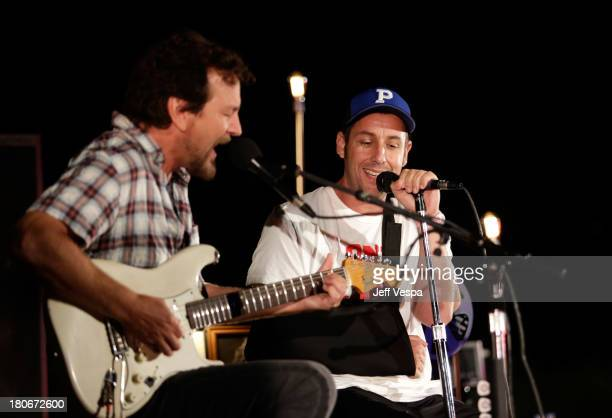 Eddie Vedder and Adam Sandler peform onstage during Eddie Vedder and Zach Galifianakis Rock Malibu Fundraiser for EBMRF and Heal EB on September 15...