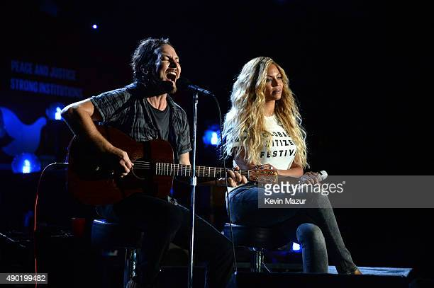 Eddie Vedder and Beyonce perform onstage during 2015 Global Citizen Festival to end extreme poverty by 2030 in Central Park on September 26 2015 in...