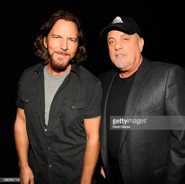 Eddie Vedder and BIlly Joel backstage during '121212' a concert benefiting The Robin Hood Relief Fund to aid the victims of Hurricane Sandy presented...