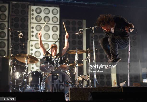 Eddie Vedder and Matt Cameron of Pearl Jam perform during Budweiser Made In America Festival Benefiting The United Way Day 2 at Benjamin Franklin...