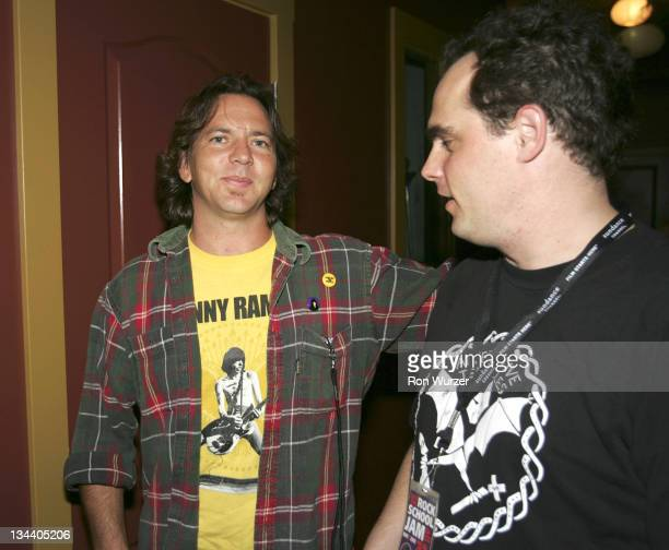 Eddie Vedder and Paul Green during 'Rock School' After Party in Seattle May 25 2005 at Seattle Neumo's in Seattle Washington United States